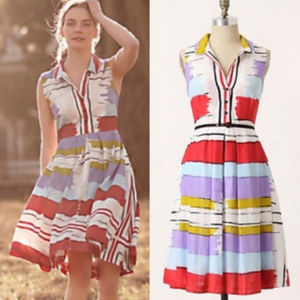 Anthropologie Floreat Chromatic Canvas Print dress